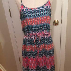 Vibrant slip dress cinched waist